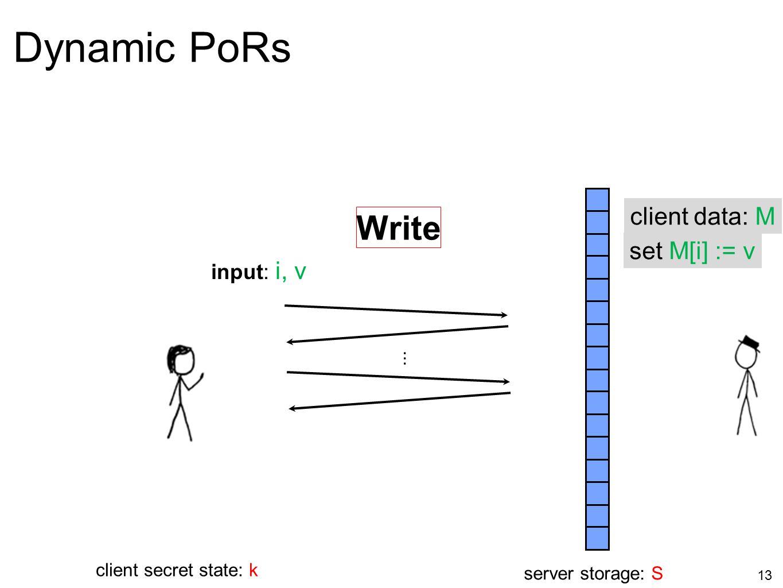 Dynamic PoRs Write client data: M set M[i] := v input: i, v ...